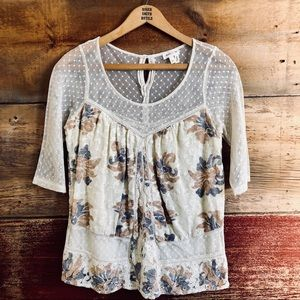 Anthropologie Meadow Rue floral and lace top